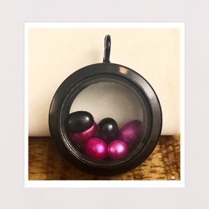 Jewelry - 3-D Glass Locket Pendant w/ Color Pearls in Black